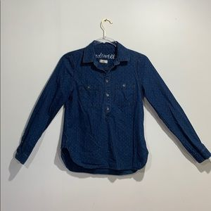 Madewell denim dotted blouse size S